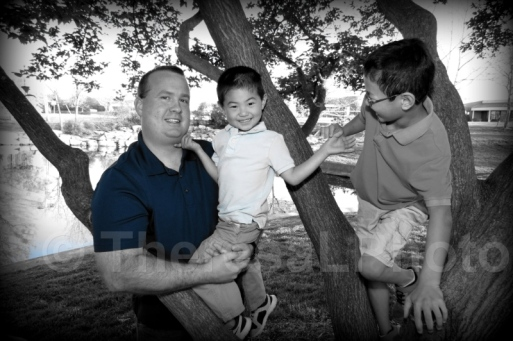2014 Dad and Sons w tree BW & BLU