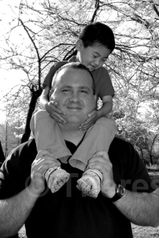 2014 Eric on Dad's shoulders BW