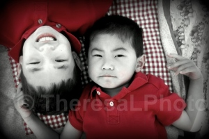 2014 Kevin & Eric on blanket BW REd Cropped
