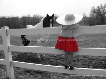 Hope at farm w hat watching horse