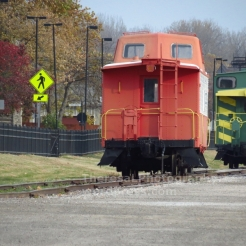 Train at Frontier Park, St. Charles Riverfront