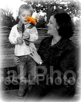 Elliott giving sunflower to Jeanine 2013 B BW