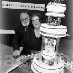 2013 Jay & Bill w cake BW